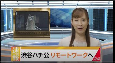 渋谷のハチ公、秋田でリモートワーク?